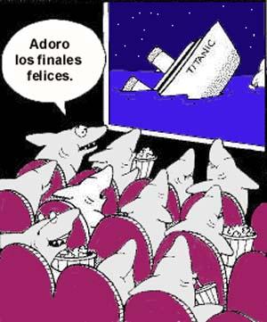 Tiburones viendo Titanic