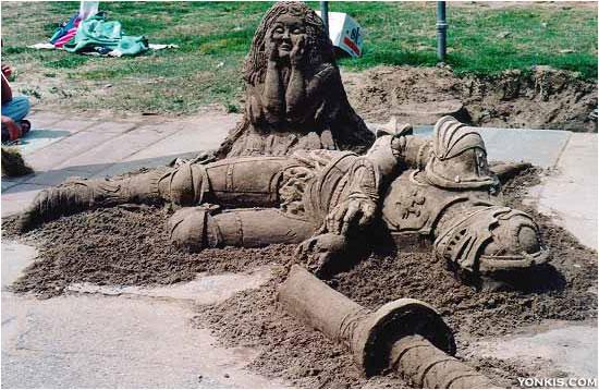 figura de arena soldado medieval abatido
