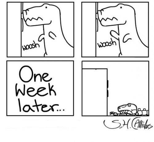 viñeta dinosaurio incapaz de abrir la nevera