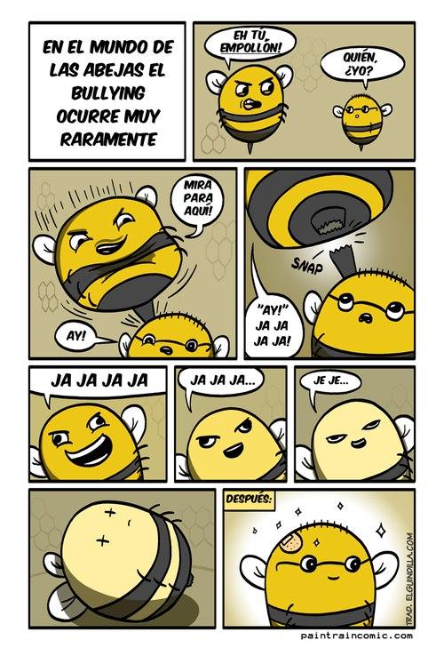 viñeta en el mundo de las abejas el bullying ocurre muy raramente