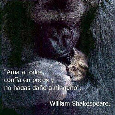 Ama a todos, confia en pocos y no hagas dano a ninguno - william shakespeare