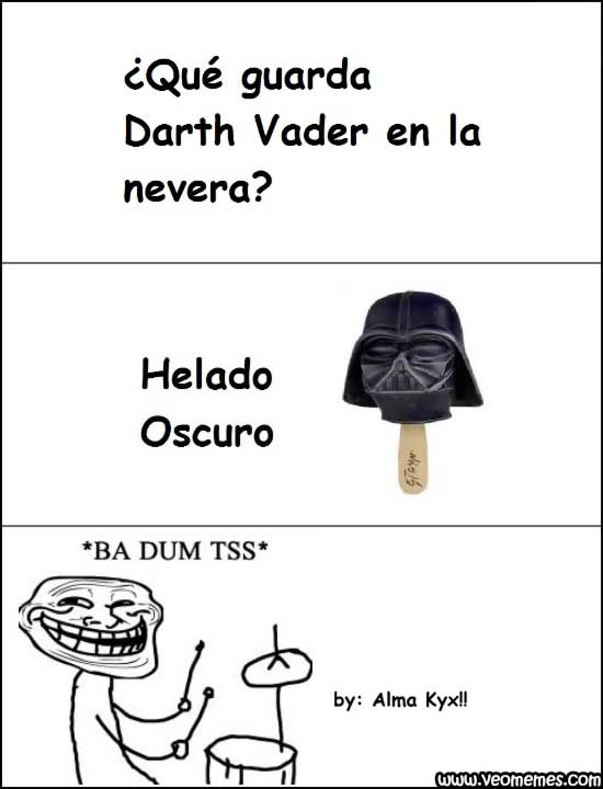 que guarda darth vader en la nevera helado oscuro