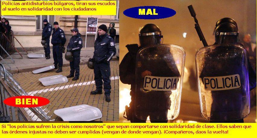 imagen policias antidisturbios bulgaros tiran sus escudos al suelo en solidaridad con los ciudadanos