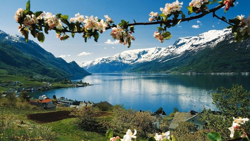 Paisaje con lago y montañas nevadas