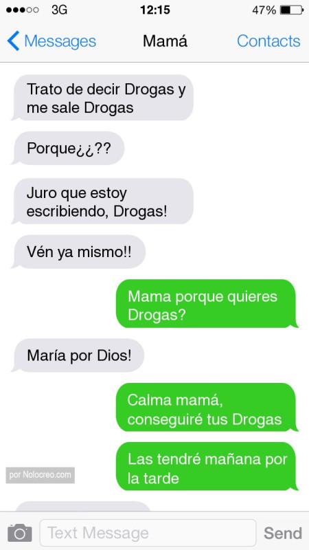 conversacion whatsapp trato de decir drogas y me sale drogas
