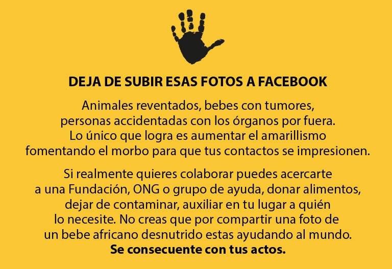 deja de subir esas fotos a facebook - consejos para colaborar en causas justas