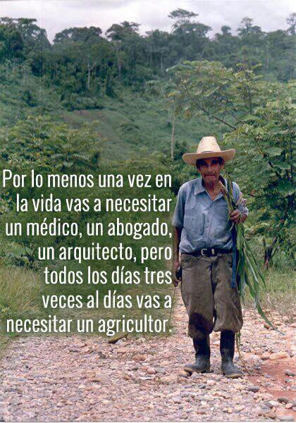 Por lo menos una vez en la vida vas a necesitar un medico, un abogado, un arquitecto... pero todos los días, tres veces, vas a necesitar un agricultor