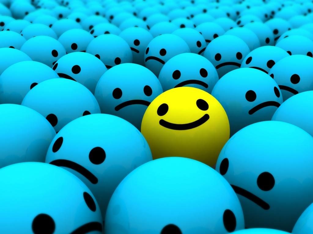 fondo de pantalla - bola sonriente y bolas tristes