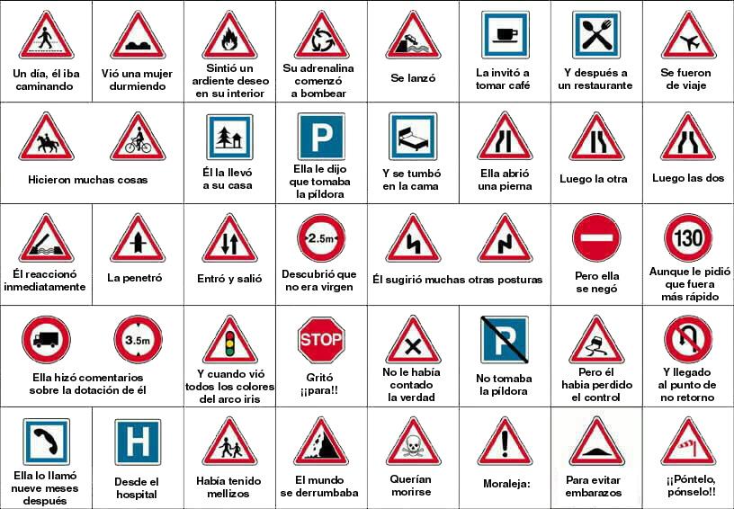 Historia de amor con señales de tráfico
