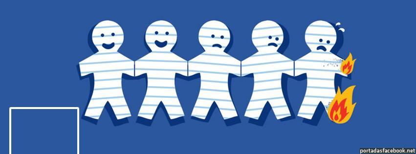 portada facebook - muñecos de papel quemándose