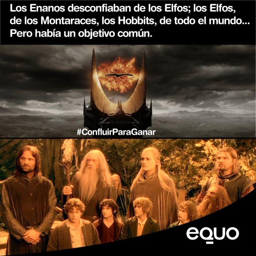 los enanos desconfiaban de los elfos, los elfos de los montaraces, los hobbits de todo el mundo, pero había un objetivo comun confluirparaganar