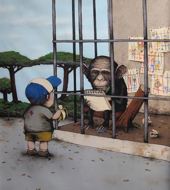 mono dibujando y niño viendo comiendo un platano