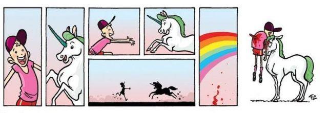 viñeta niño se encuentra con su unicornio