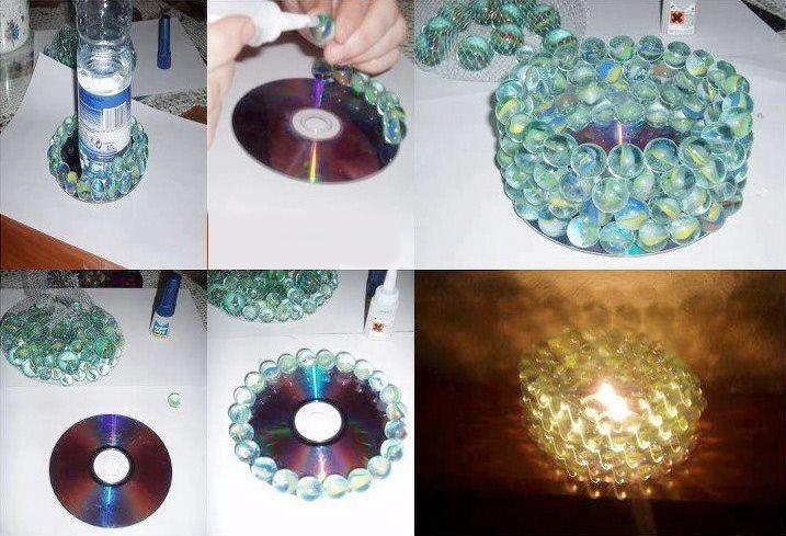 lampara con cd y canicas