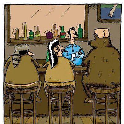 en el bar, oso con culo humano en la cabeza