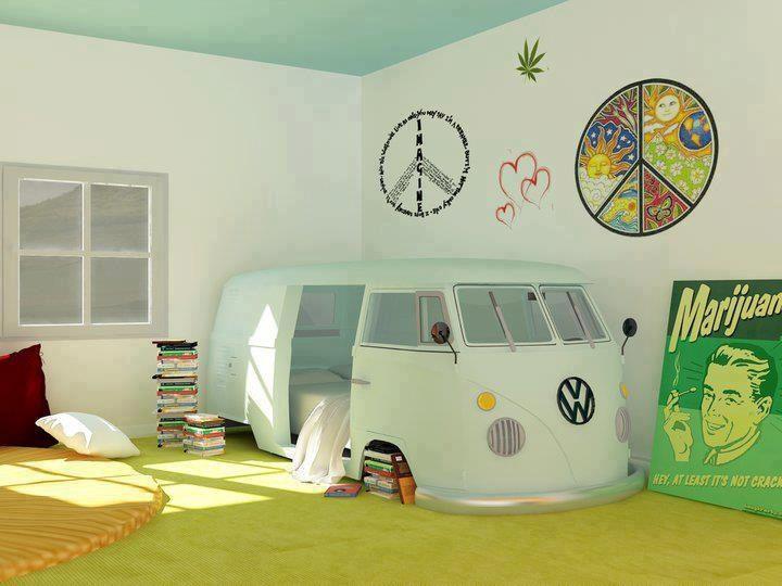 habitacion furgoneta hippie decoracion