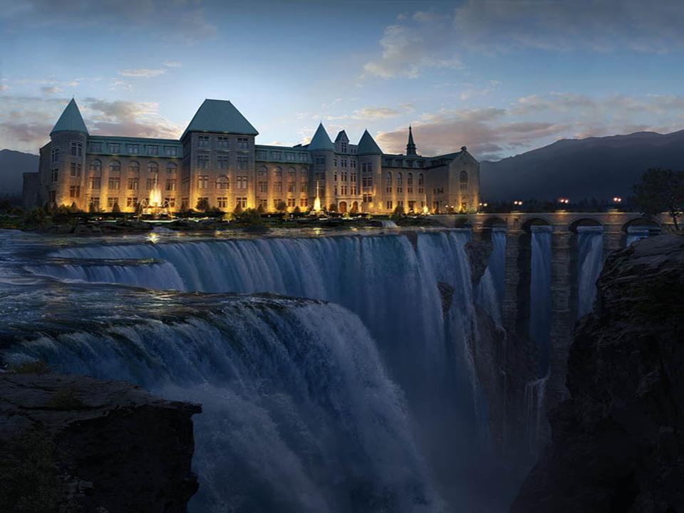 paisaje palacio al lado de cascada