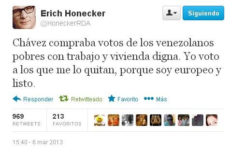 twitter chavez compraba votos de los venezolanos pobres con trabajo y vivienda digna yo soy europeo y listo