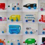 Coches de juguetes con botellas de plástico