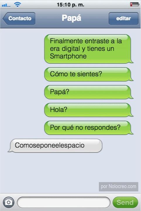 conversaciones whatsapp papa no sabe poner el espacio