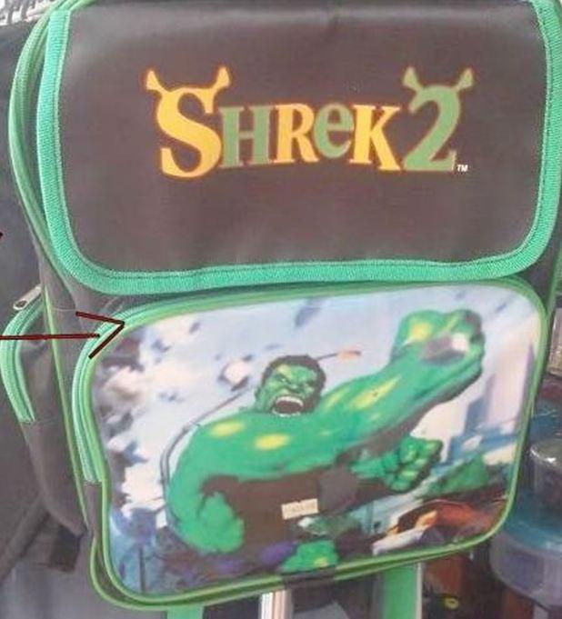 mochila fail shrek 2 y dibujo de hulk