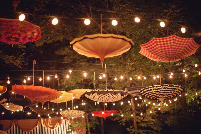 decoracion farolillos con paraguas