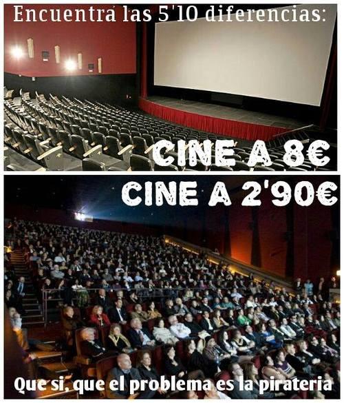 Encuentra la diferencia: cine a 8€ y cine a 2,90€