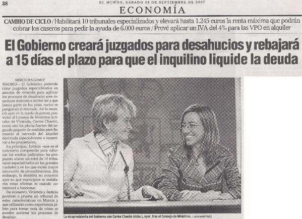 No hace mucho tiempo, cuando gobernaba el PSOE...