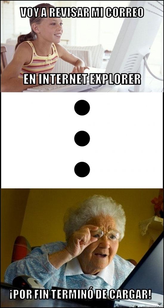 Un día como otro cualquiera, revisando el correo en Internet Explorer...