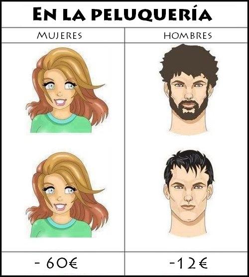 en la peluqueria, precio mujeres vs hombres