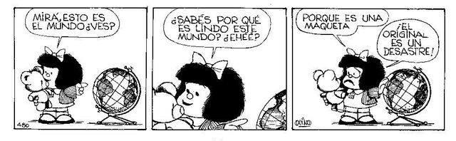 Mafalda enseñando el mundo