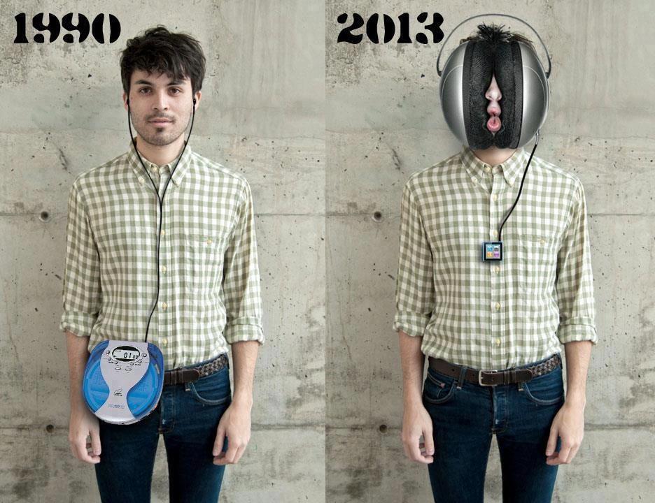 escuchando musica auriculares 1990 2013