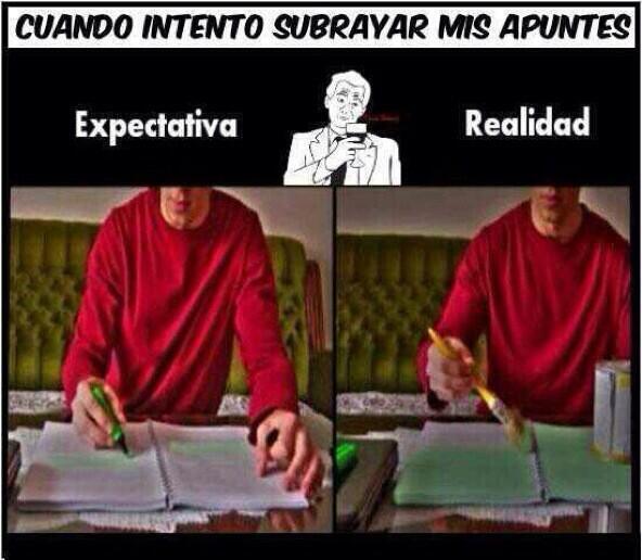 Cuando intento subrayar mis apuntes: expectativa vs realidad