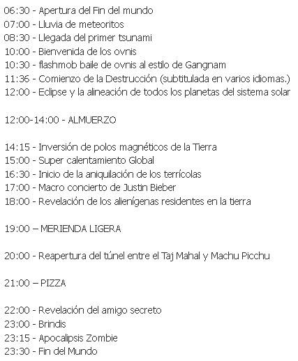 21 de diciembre de 2012 - Programa del día