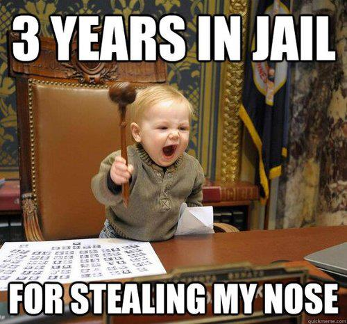 3 years in jail for stealing my nose!