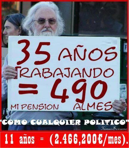 35 años trabajando 490 euros al mes como cualquier politico