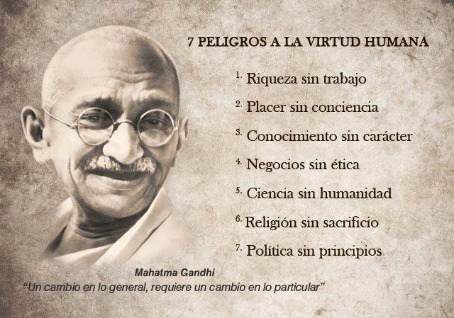 7 peligros a la virtud humana (Gandhi)