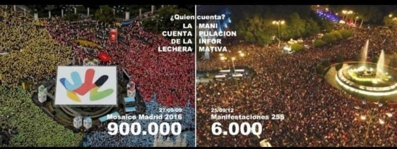Asistentes a la manifestacion del 25S y asistentes a Mosaico Madrid 2016 según cifras oficiales