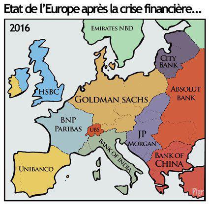 Mapa de Europa después de la crisis financiera
