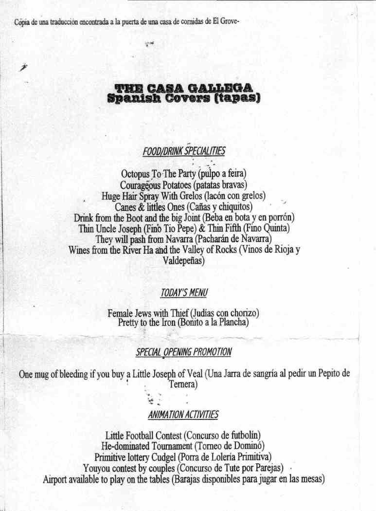 Menú gallego traducido al inglés