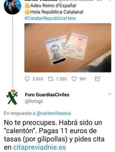 Rompe su DNI y la Guardia Civil le contesta esto:
