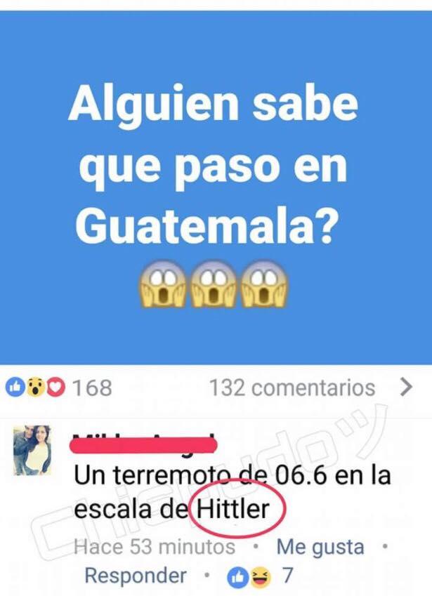 alguien sabe que paso en guatemala terremoto en la escala de hittler