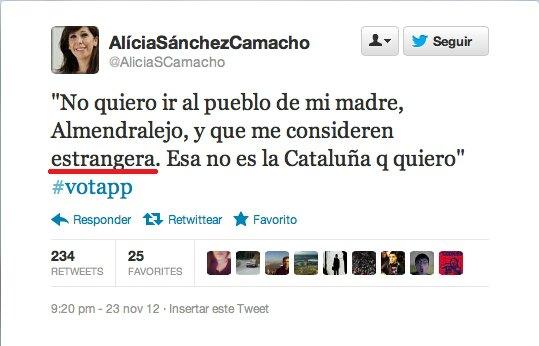 """Alícia Sánchez Camacho y su miedo a que la consideren """"extrangera"""""""