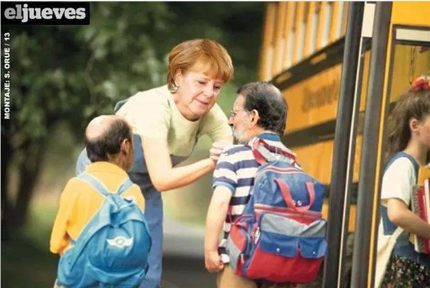 Angela Merkel preparando a los niños para ir al cole