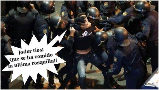 antidisturbios vs manifestante - joder tios que se ha comido la ultima rosquilla
