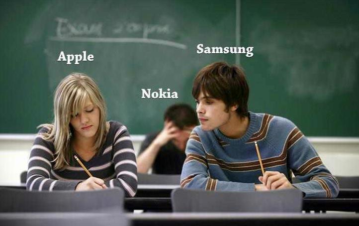 Apple, Samsung y Nokia en un examen