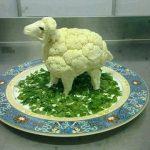 Arte con comida: Coliflor oveja