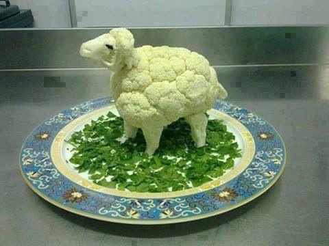 arte con comida coliflor oveja