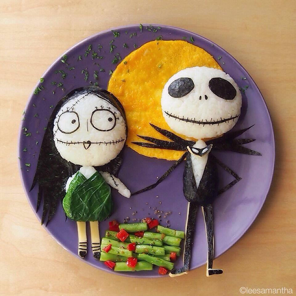 arte con comida pesadilla antes de navidad