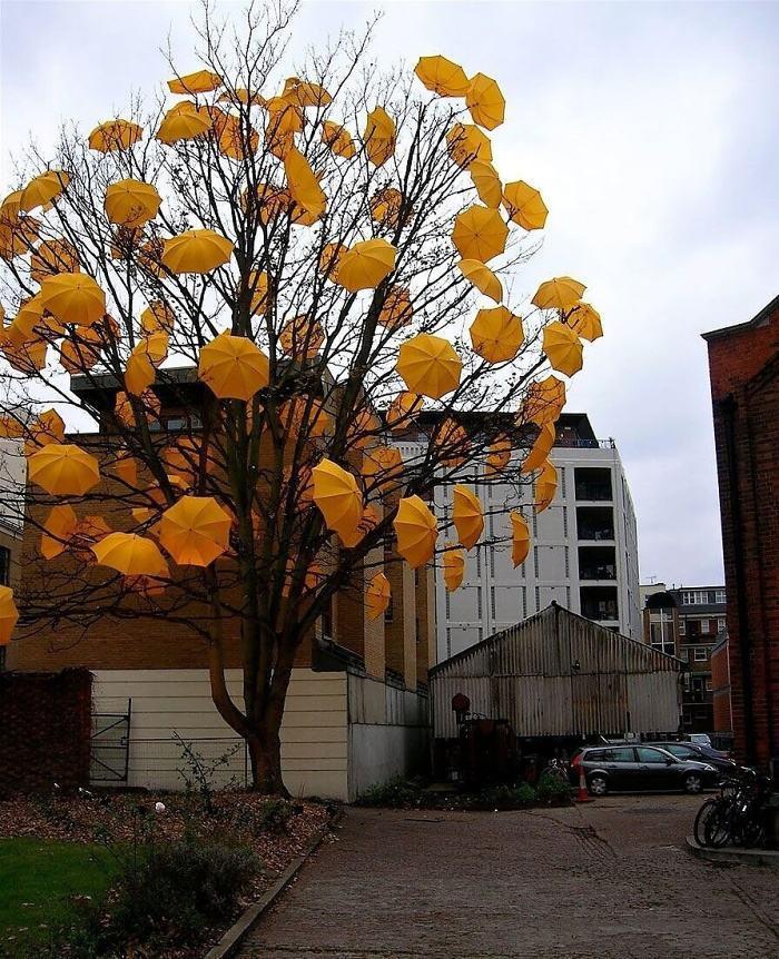 Arte urbano - Árbol con paraguas
